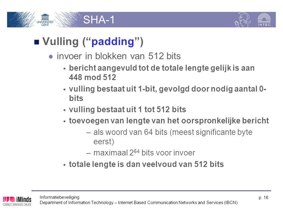 SHA-1 Vulling ( padding ) invoer in blokken van 512 bits