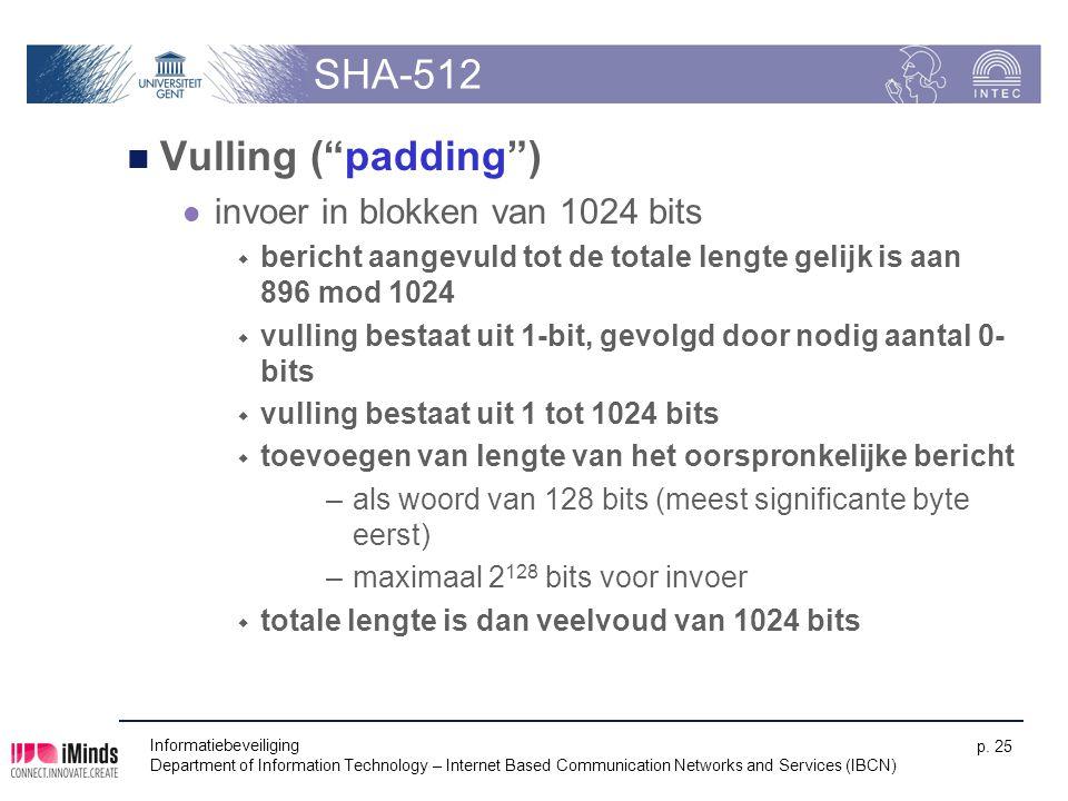 SHA-512 Vulling ( padding ) invoer in blokken van 1024 bits