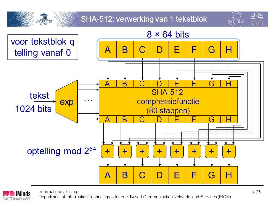 SHA-512: verwerking van 1 tekstblok