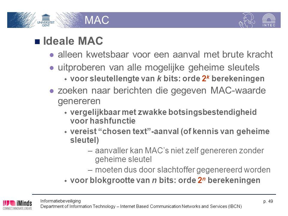 MAC Ideale MAC alleen kwetsbaar voor een aanval met brute kracht