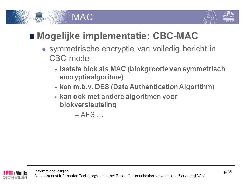 Mogelijke implementatie: CBC-MAC
