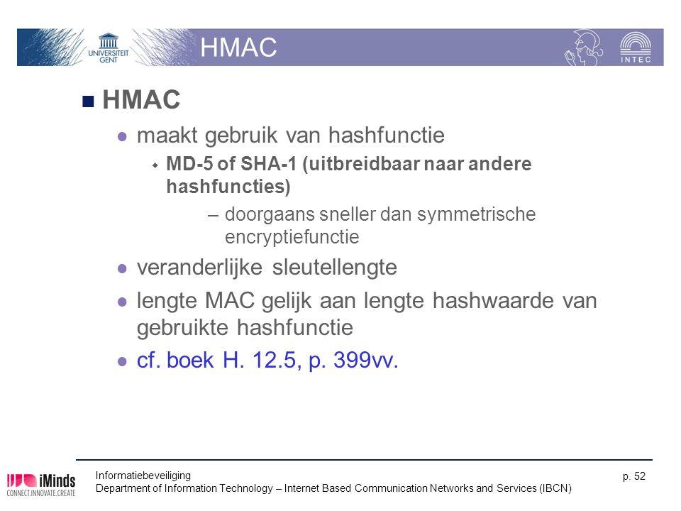 HMAC HMAC maakt gebruik van hashfunctie veranderlijke sleutellengte