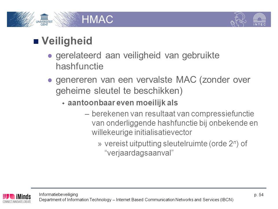 HMAC Veiligheid gerelateerd aan veiligheid van gebruikte hashfunctie