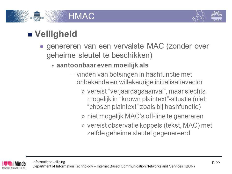 HMAC Veiligheid. genereren van een vervalste MAC (zonder over geheime sleutel te beschikken) aantoonbaar even moeilijk als.