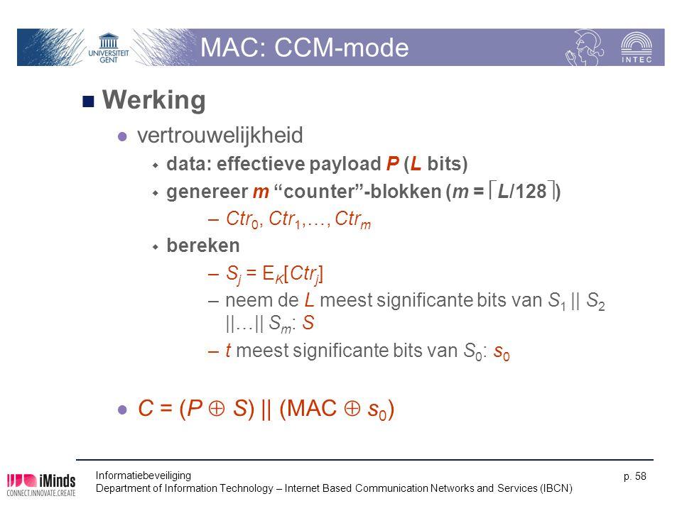 MAC: CCM-mode Werking vertrouwelijkheid C = (P  S) || (MAC  s0)