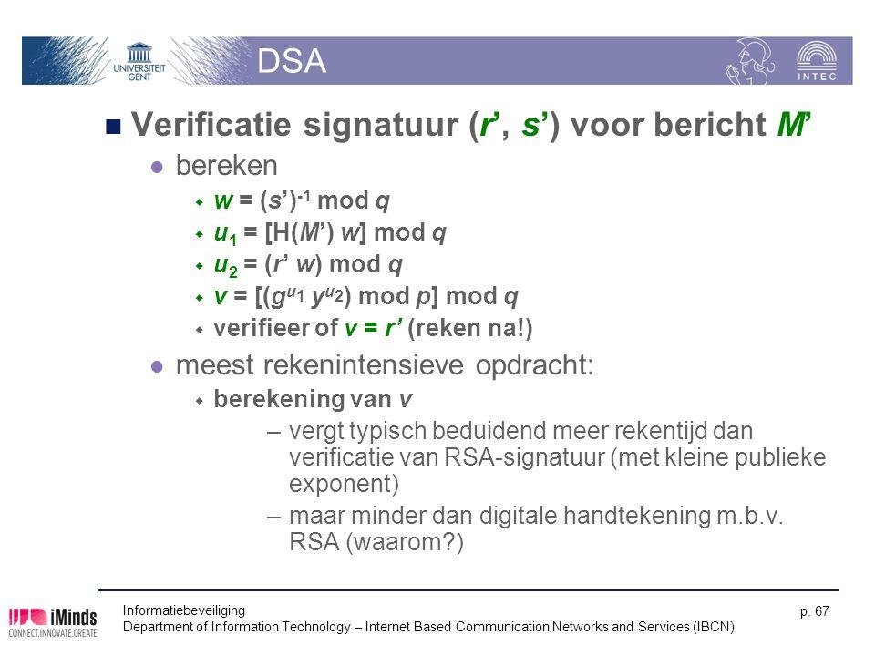 Verificatie signatuur (r', s') voor bericht M'
