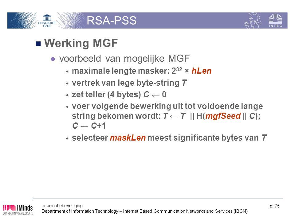 RSA-PSS Werking MGF voorbeeld van mogelijke MGF