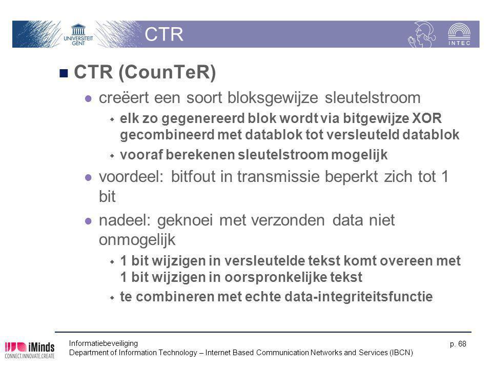 CTR CTR (CounTeR) creëert een soort bloksgewijze sleutelstroom