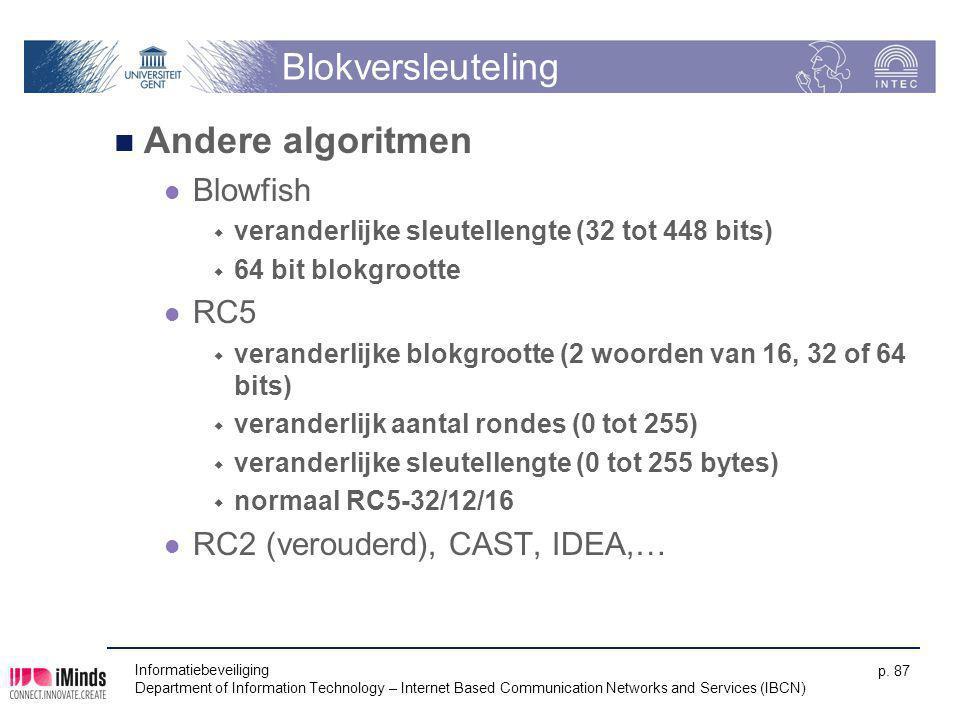 Blokversleuteling Andere algoritmen Blowfish RC5