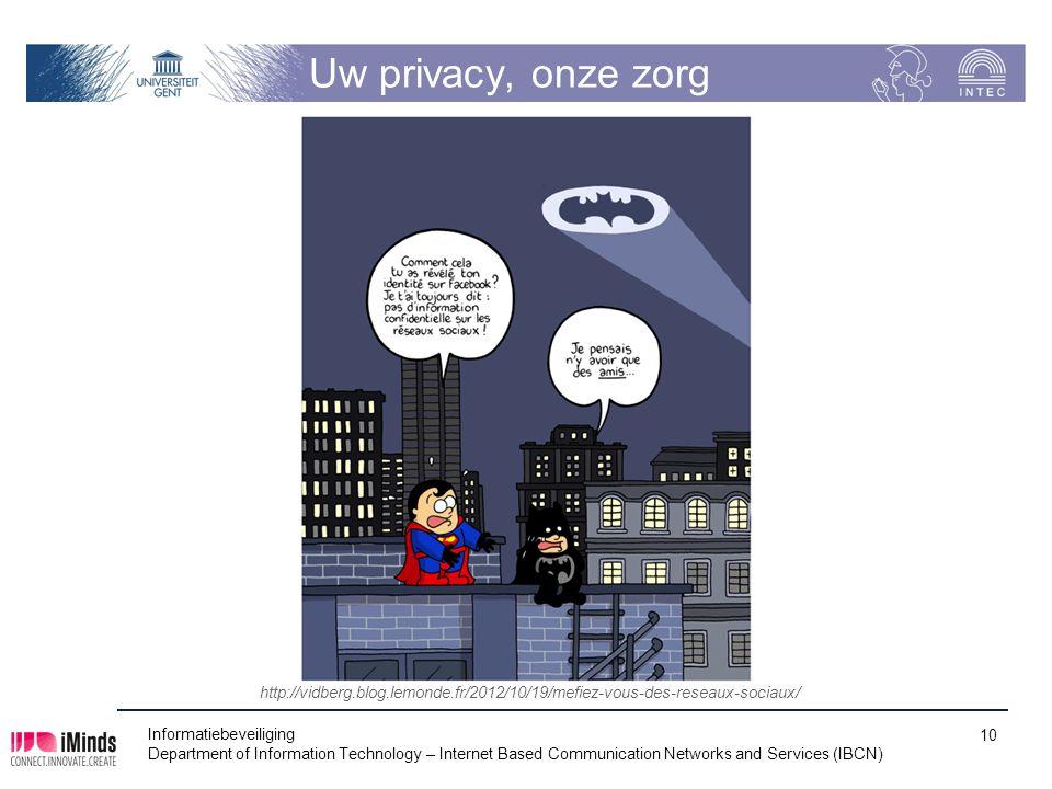 Uw privacy, onze zorg http://vidberg.blog.lemonde.fr/2012/10/19/mefiez-vous-des-reseaux-sociaux/ Informatiebeveiliging.