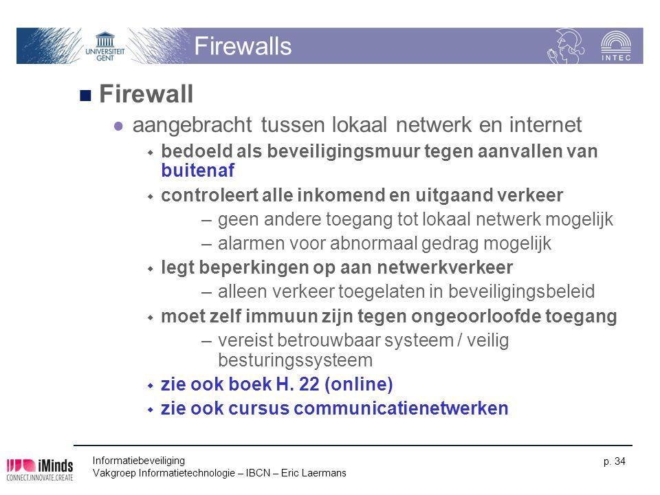 Firewalls Firewall aangebracht tussen lokaal netwerk en internet