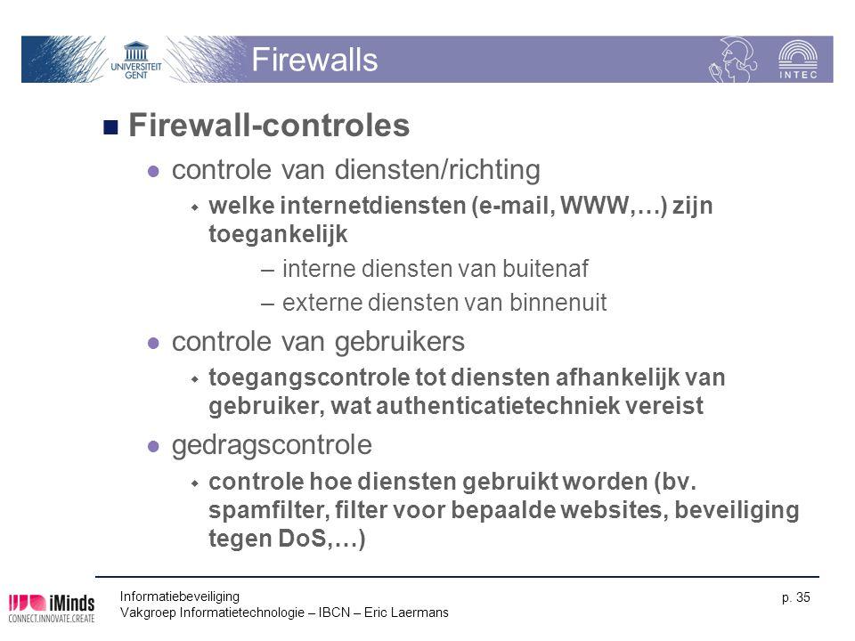 Firewalls Firewall-controles controle van diensten/richting