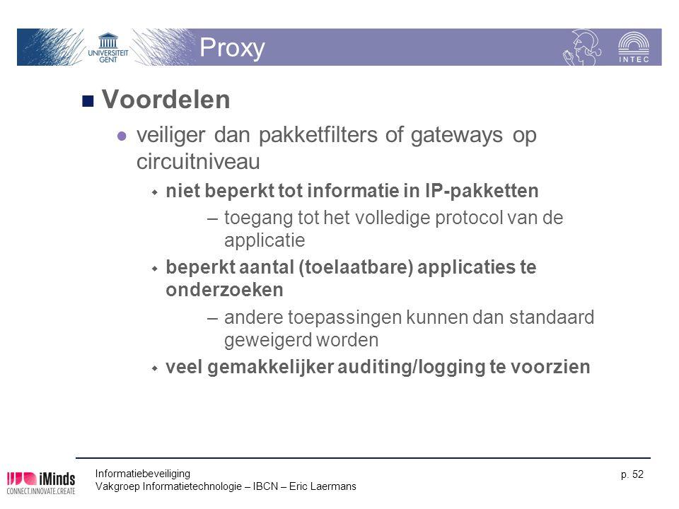 Proxy Voordelen. veiliger dan pakketfilters of gateways op circuitniveau. niet beperkt tot informatie in IP-pakketten.