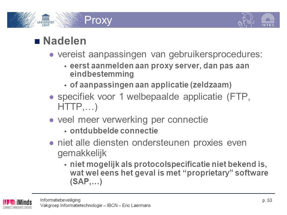 Proxy Nadelen vereist aanpassingen van gebruikersprocedures: