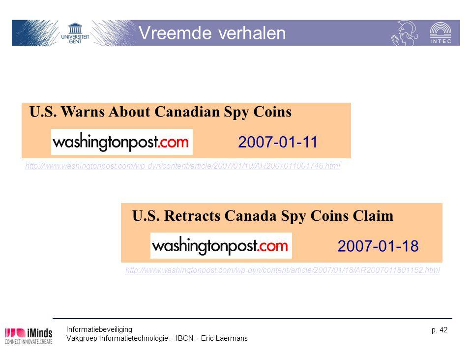 Vreemde verhalen U.S. Warns About Canadian Spy Coins 2007-01-11