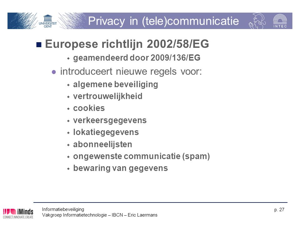Privacy in (tele)communicatie