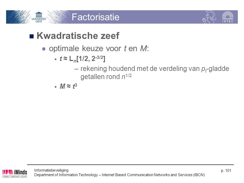 Factorisatie Kwadratische zeef optimale keuze voor t en M: