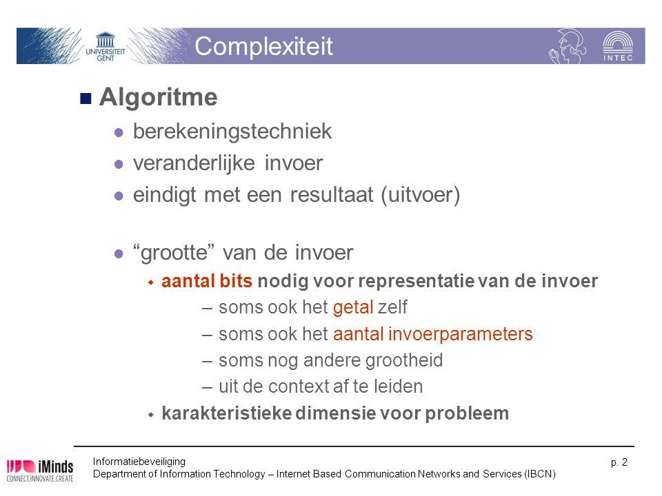 Complexiteit Algoritme berekeningstechniek veranderlijke invoer