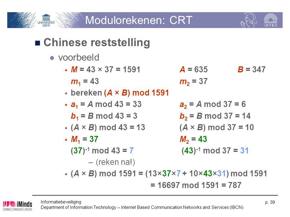Modulorekenen: CRT Chinese reststelling voorbeeld