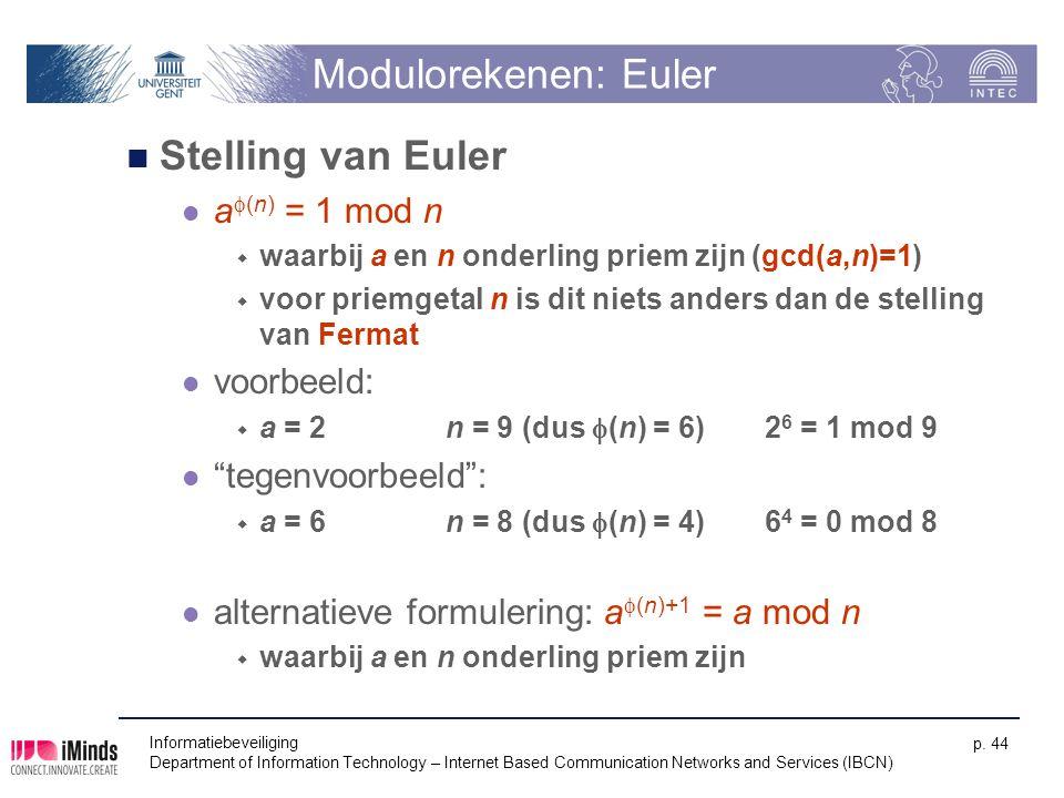 Modulorekenen: Euler Stelling van Euler af(n) = 1 mod n voorbeeld: