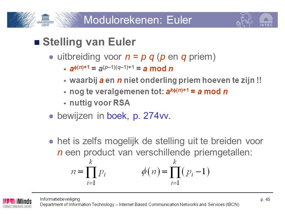 Modulorekenen: Euler Stelling van Euler