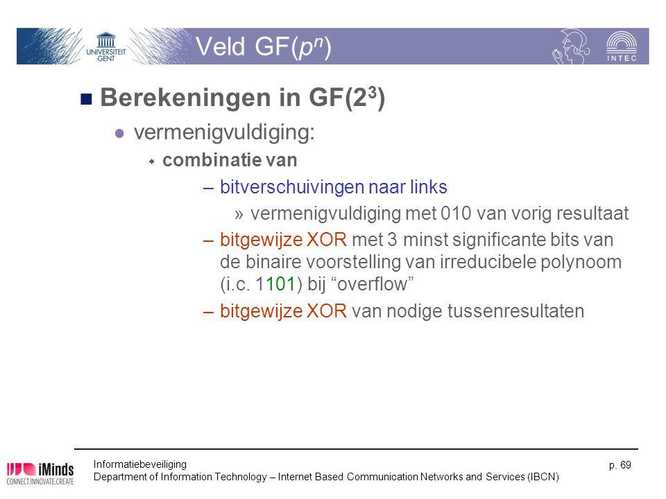 Veld GF(pn) Berekeningen in GF(23) vermenigvuldiging: combinatie van