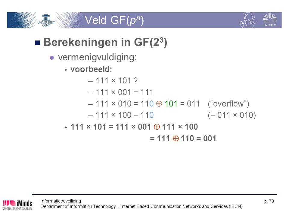 Veld GF(pn) Berekeningen in GF(23) vermenigvuldiging: voorbeeld: