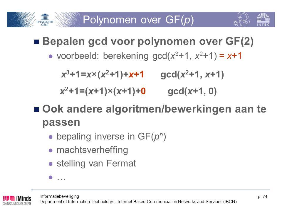 Bepalen gcd voor polynomen over GF(2)
