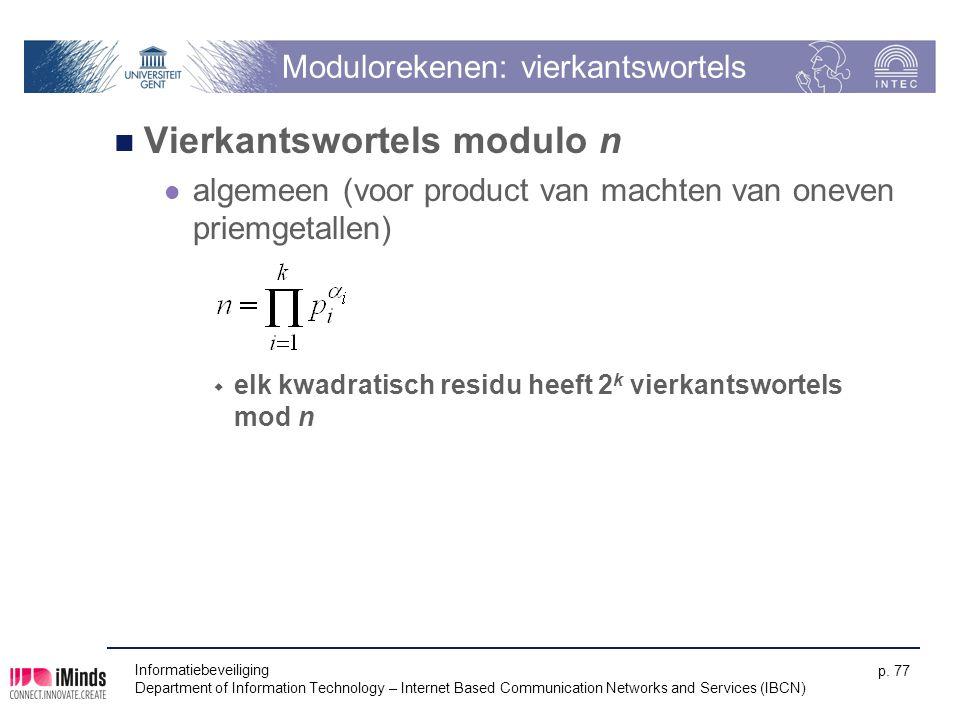 Modulorekenen: vierkantswortels