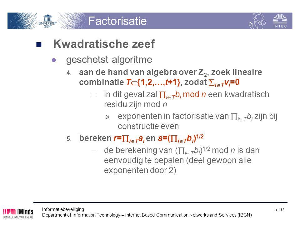 Factorisatie Kwadratische zeef geschetst algoritme