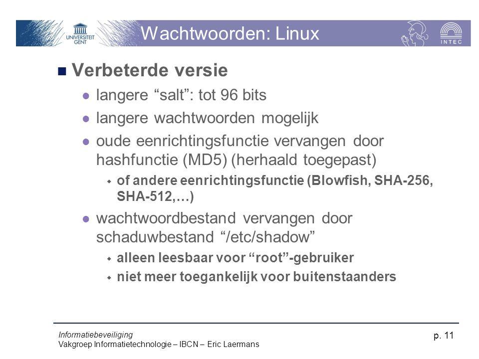 Wachtwoorden: Linux Verbeterde versie langere salt : tot 96 bits