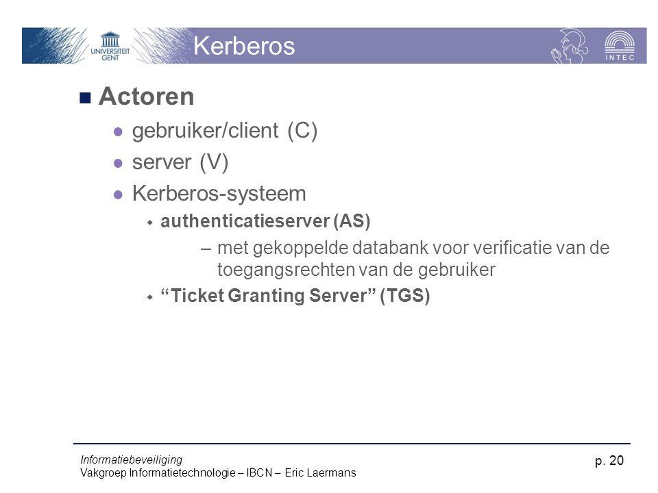Kerberos Actoren gebruiker/client (C) server (V) Kerberos-systeem