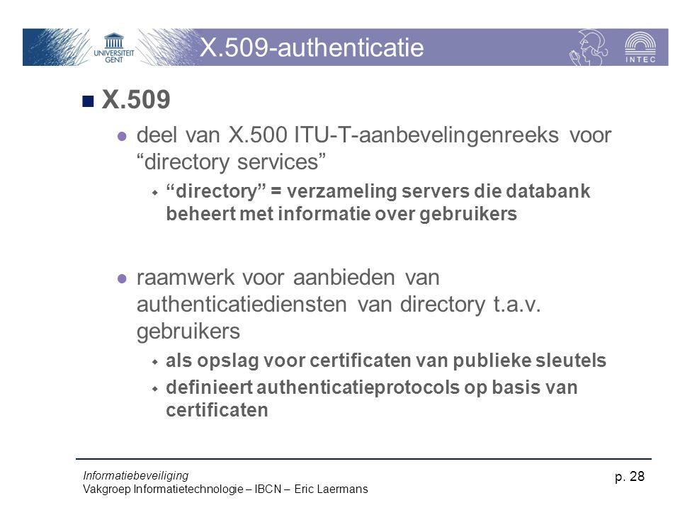 X.509-authenticatie X.509. deel van X.500 ITU-T-aanbevelingenreeks voor directory services