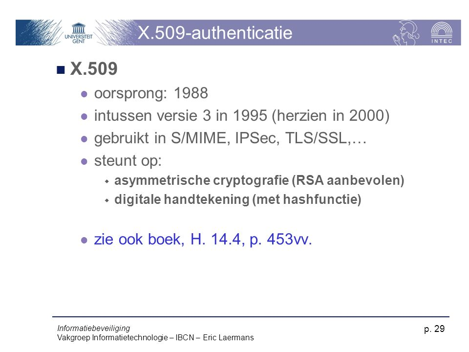 X.509-authenticatie X.509 oorsprong: 1988