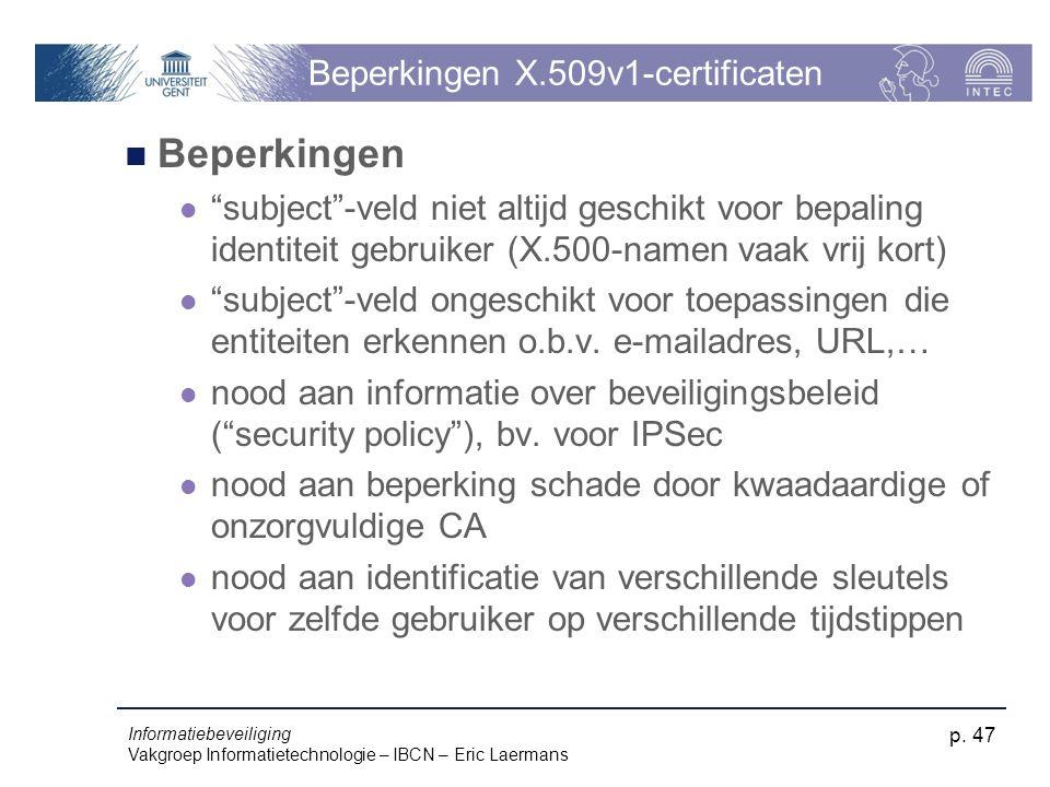 Beperkingen X.509v1-certificaten