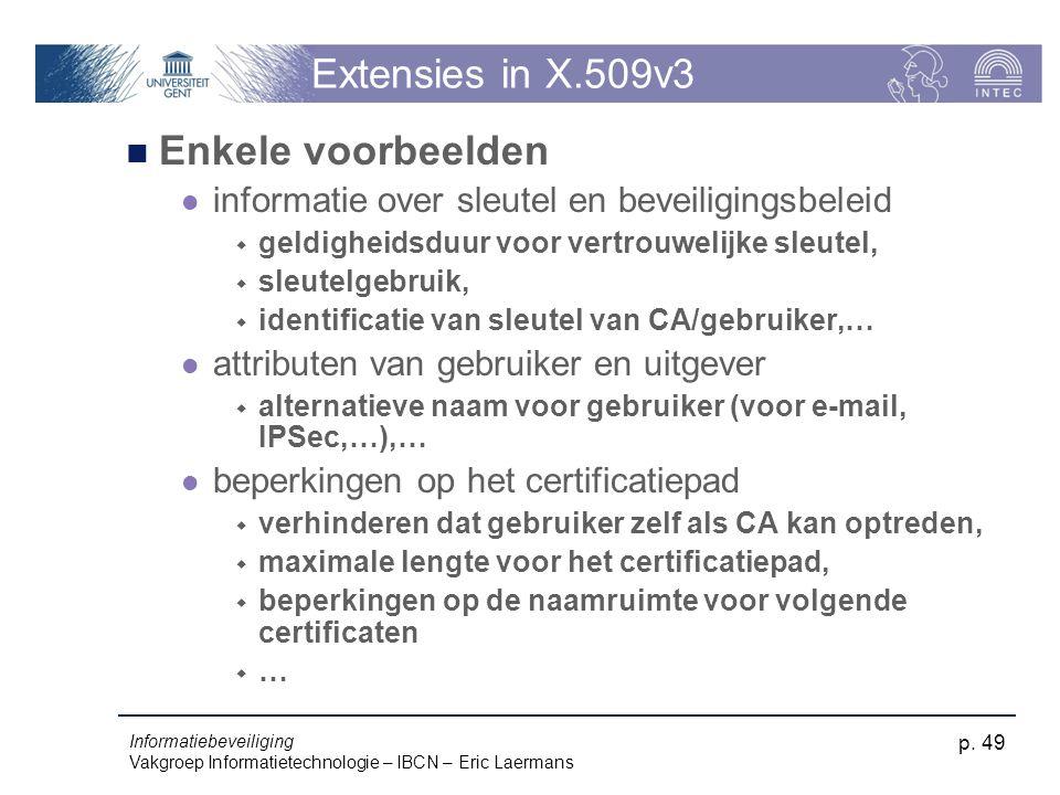 Extensies in X.509v3 Enkele voorbeelden