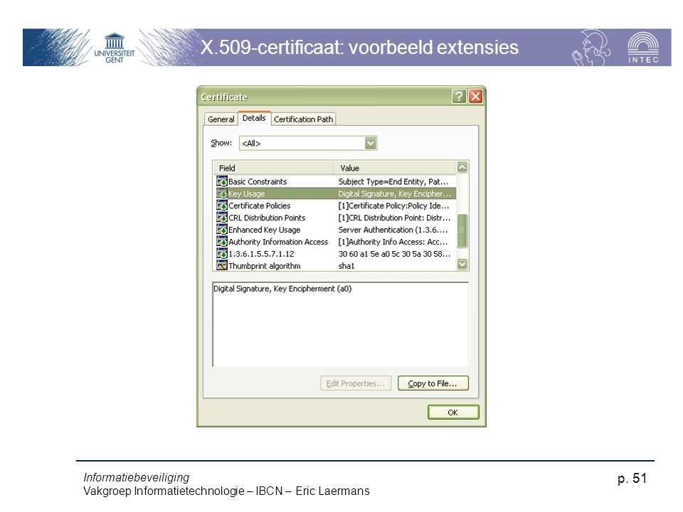 X.509-certificaat: voorbeeld extensies