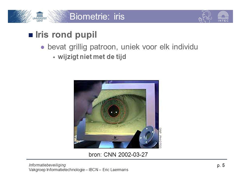 Biometrie: iris Iris rond pupil
