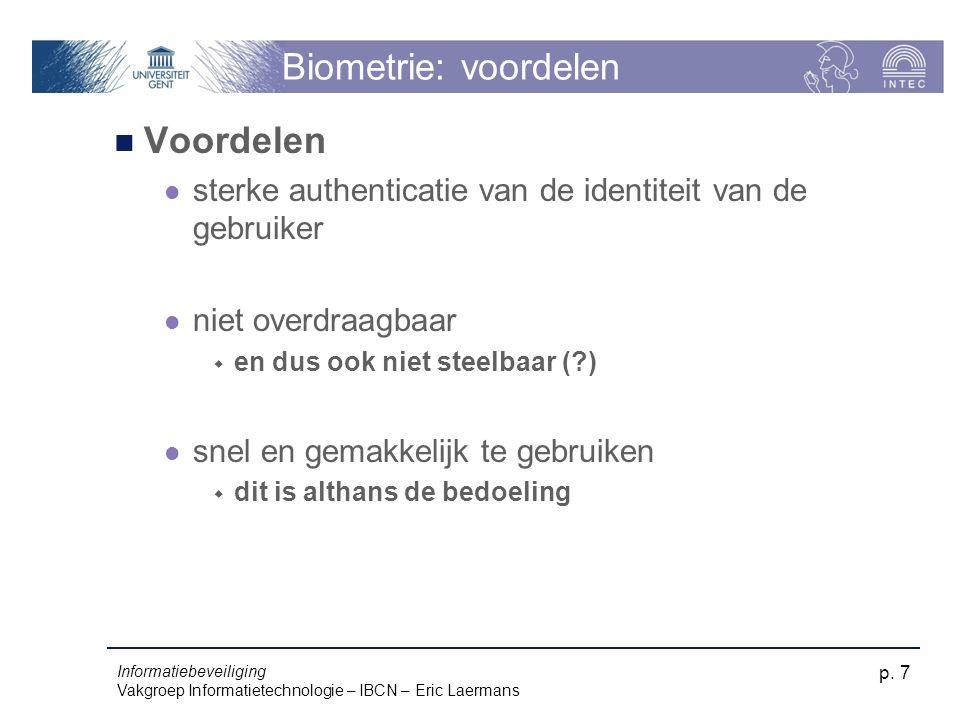 Biometrie: voordelen Voordelen