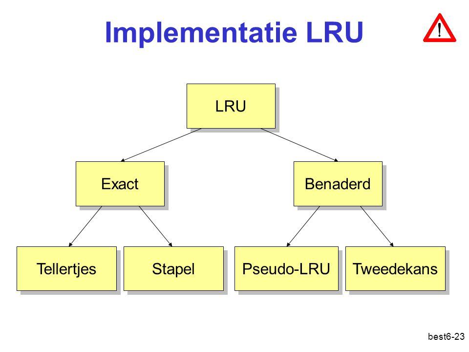 Implementatie LRU LRU Exact Benaderd Tellertjes Stapel Pseudo-LRU