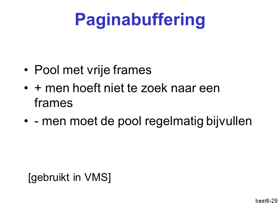 Paginabuffering Pool met vrije frames