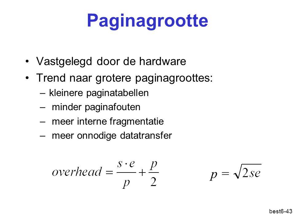 Paginagrootte p = Vastgelegd door de hardware