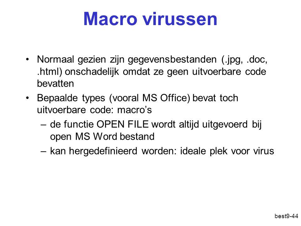 Macro virussen Normaal gezien zijn gegevensbestanden (.jpg, .doc, .html) onschadelijk omdat ze geen uitvoerbare code bevatten.
