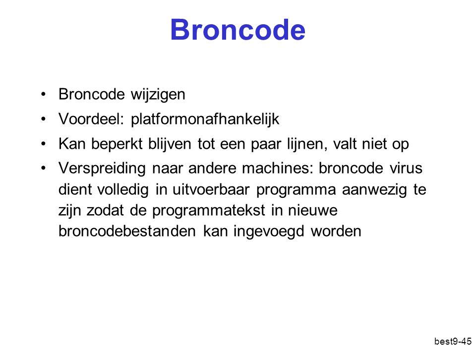 Broncode Broncode wijzigen Voordeel: platformonafhankelijk