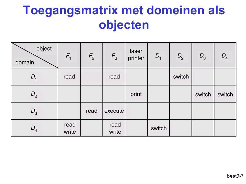 Toegangsmatrix met domeinen als objecten