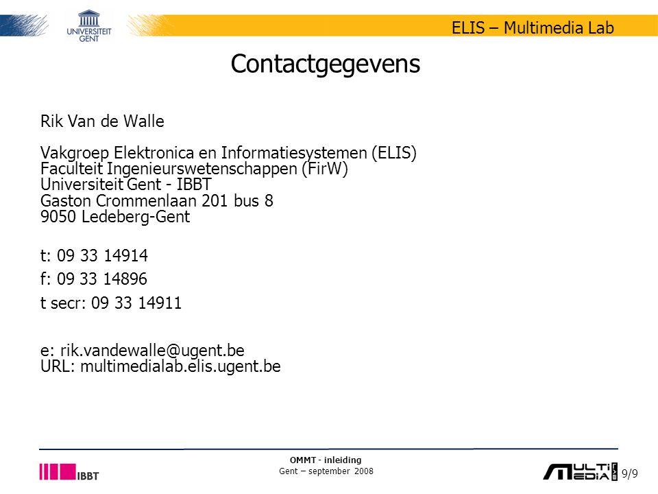 Contactgegevens Rik Van de Walle