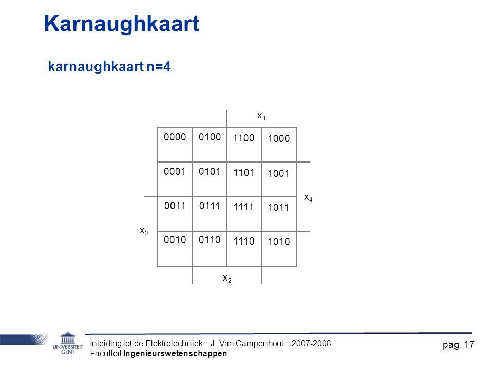 Karnaughkaart karnaughkaart n=4 x1 x2 x3 x4 0000 0001 0011 0010 0100