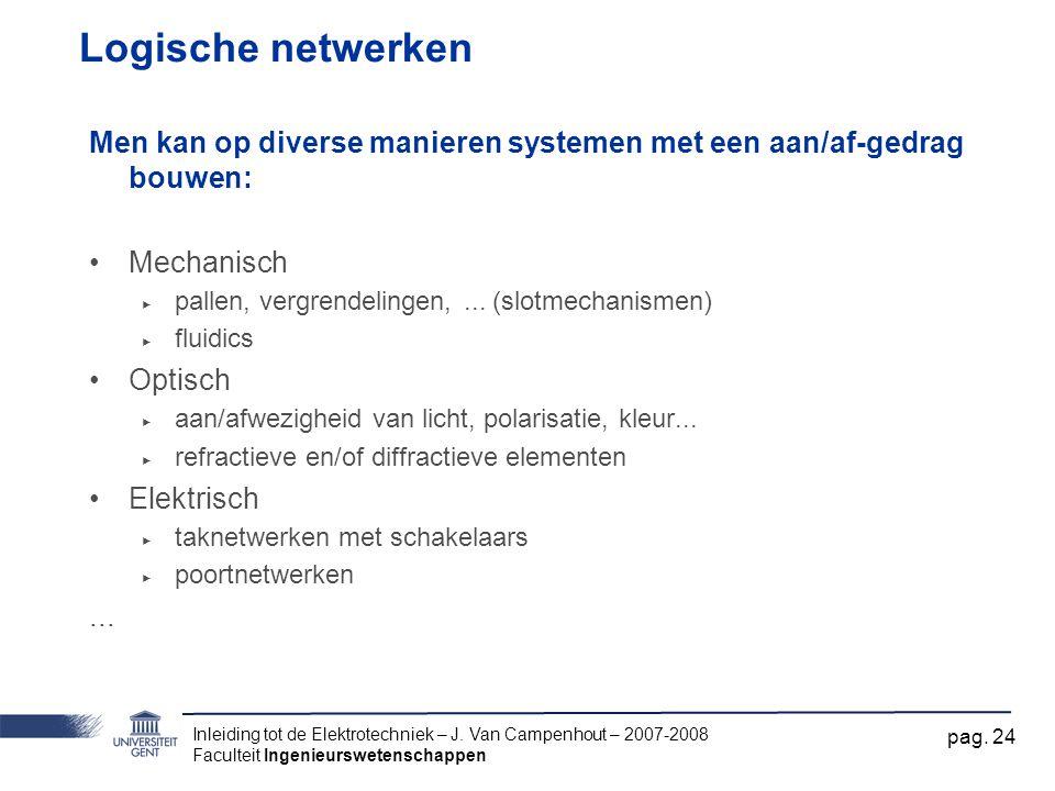 Logische netwerken Men kan op diverse manieren systemen met een aan/af-gedrag bouwen: Mechanisch. pallen, vergrendelingen, ... (slotmechanismen)