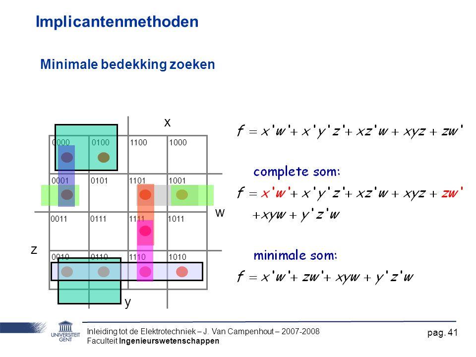 Implicantenmethoden Minimale bedekking zoeken x w z y 0000 0001 0011