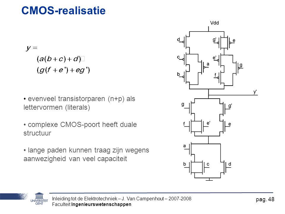 CMOS-realisatie evenveel transistorparen (n+p) als lettervormen (literals) complexe CMOS-poort heeft duale structuur.